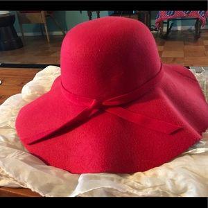 Red Wide- brimmed hat